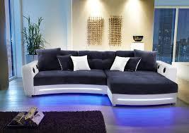 ecksofa in weiß kunstleder und blau microfaser inkl - Sofa Mit Beleuchtung