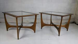 lane mid century modern coffee table pair of mid century modern walnut and glass side tables made by