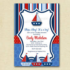 Baby Welcome Invitation Cards Templates Ships Ahoy Sailboat Baby Shower Or Birthday Party Invitation