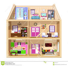 Inside Of House by Modern Graphic Cute House In Cut Detailed Colorful Vector House