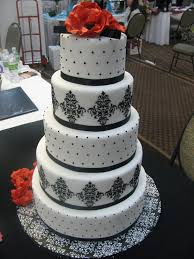 five tier wedding cake with classic black and white design
