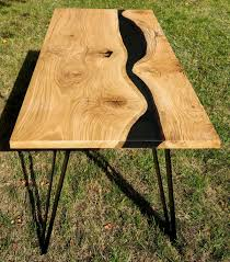 live edge river table epoxy river table made of old solid oak timber filled with black semi