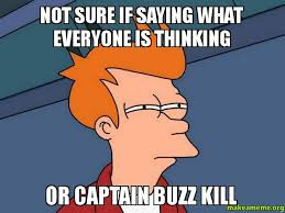 Buzzkill Meme - not sure if saying what everyone is thinking or captain buzz kill
