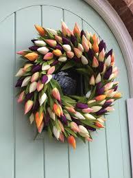 Tulip Wreath Big Beautiful Faux Tulip Wreath With Orange Flashes