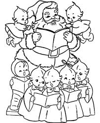 santa snowman decorated singing birds coloring pages