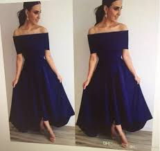 strapless navy blue bridesmaid dresses 2017 with shoulder