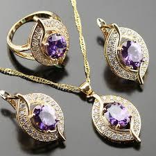purple stone necklace set images Noblest purple crystal stone jewelry set for women white zircon jpg
