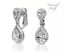 bridal clip on earrings clip on bridal earrings teardrop earrings wedding jewelry