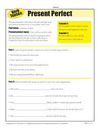 verb tense worksheets present perfect