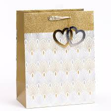 wedding gift bag wedding gold silver heart large gift bag