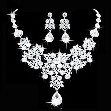 crystal choker necklace set images Fashion women crystal choker collar bib necklace wedding earrings JPG