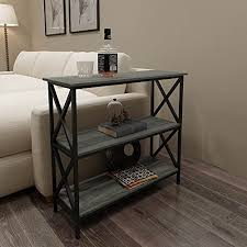 amazon com weathered grey oak finish 3 tier metal x design
