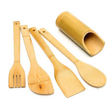 un ustensile de cuisine 5 pcs ensemble bambou ustensile cuisine en bois ustensiles de