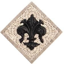 kitchen backsplash metal medallions fleur de lis kitchen backsplash mosaic tile and metal medallion