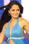 A TEAM: Anushka Showing Her Thigh and Navel in Blue Dress