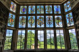 file stained glass window overlooking gardens of montacute house