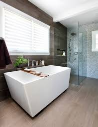 clean lines and a curbless shower help give this bathroom a spa