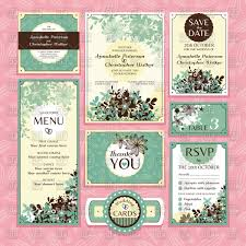 Wedding Invitations With Free Rsvp Cards Set Of Wedding Invitations Thank You Cards And Rsvp Cards Vector