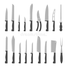 kinds of kitchen knives types of kitchen knives set stock vector illustration of metal