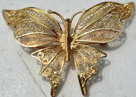 estate 14k yellow gold filigree butterfly pin 585 turkey arr