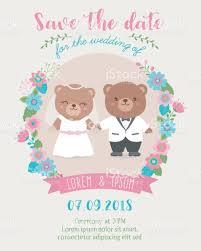 Invitation Card Designing Cute Bear Couple Cartoon Illustration For Wedding Invitation Card