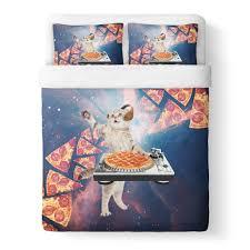 dj pizza cat duvet cover shelfies