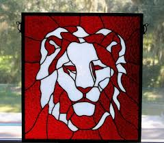 art glass lion ring holder images Hand made stained glass lion head by a glass menagerie jpg