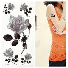 rose pattern tattoo paper sticker sort hvit gratis frakt