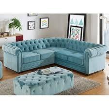 canapé d angle en velours marque generique canapé d angle en velours chesterfield bleu