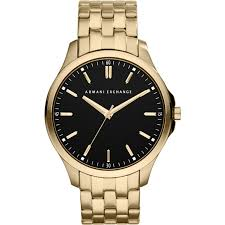 black bracelet mens watches images Ax2145 armani exchange mens black gold plated bracelet dress watch jpg