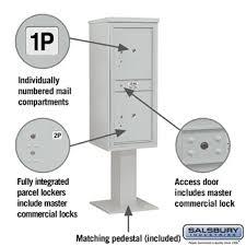 Pedestal Mailbox Salsbury Industries 3411s 2pgry 2 Parcel 4c Pedestal Mailbox