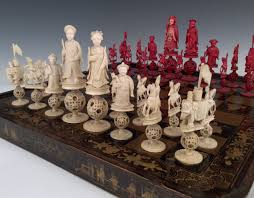 antique chinese lacquer board and ivory chess set richard