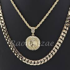 rope chain necklace men images Men praying hands round pendant diamond cut 30 quot cuban rope chain jpg