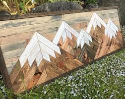 wood mountain wall mountain wall etsy