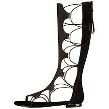 womens boots zip up back black knee high flat summer boots for lace up criss cross