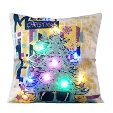 Christmas Decorative Pillow Cases by Christmas Led Light Linen Throw Pillow Case Sofa Cushion Cover