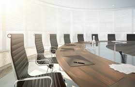 furniture rectangle glass conference table and five black swivel