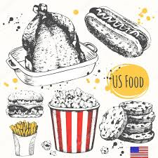 usa food in the sketch style main course and snacks u2014 stock