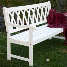 cunningham 5 ft painted wood garden bench white new house