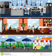 kitchen dining room vector banner with restaurant interiors kitchen dining room and
