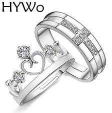 ring sets hywo brands silver plated prince princess crown cz promise