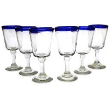hand blown wine glasses set of 6 blue rim goblets mexico