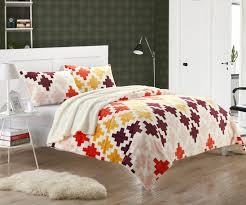 Orange And White Comforter Set Mia Spice 3 Piece Plush Microsuede Printed Sherpa Bedding