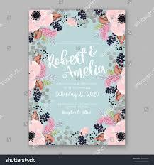 Floral Invitation Card Designs Anemone Wedding Invitation Card Template Floral Stock Vector
