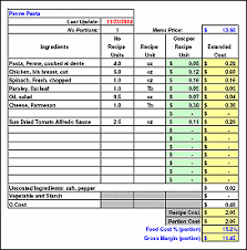 Food Cost Spreadsheet Free by Recipe Costing Inventory Menu Profitability Workbook