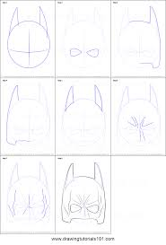 coloring luxury batman mask drawing draw step