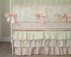 Shabby Chic Crib Bumper by Vintage Floral Mary Rose Shabby Chic Baby Pink And Ivory Cream