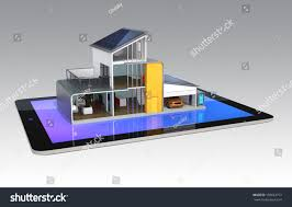 energy efficient house smart tablet management stock illustration