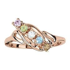 mothers rings white gold mothers ring 2 3 4 or 5 birthstones 10k white or