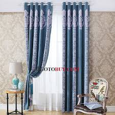 Blue Striped Curtains Blue Purple Floral Jacquard Thick Blackout Striped Curtains Buy
